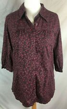 FAT FACE SHIRT - Size 14 - Purple ~ Floral ~ Button down top ~ Tunic  Smock  ~ H