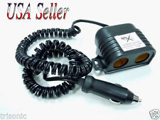 DUAL OUTLET SOCKET AUTO CIGARETTE LIGHTER W 8 FT EXTENSION 12V ADAPTER SPLITTER