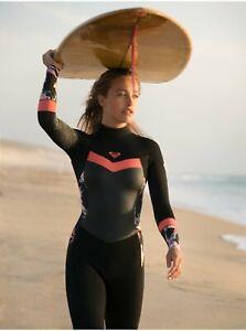 Roxy Syncro 3/2mm GBS Back Zip Wetsuit - Womens - 6 / Black/Bright Coral (XKKM)