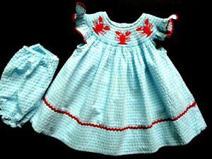 Girls Little Threads Smocked Lobsters Blue Stripes Bishop Dress 3 mos Portrait