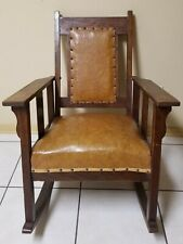 Antique Solid Wood Rocker Rocking Chair w/ Leather Seat and Back