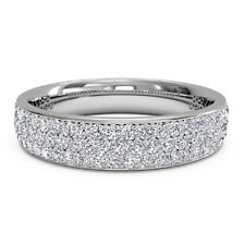 0.70 Ct Real Moissanite 14k White Gold Engagement Ring Eternity Bands Size 7 6 5