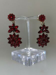 Antique Ruby Red Bohemian Garnet Silver & Rolled Gold Clip On Earrings,1900's.
