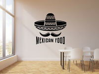 Vinyl Wall Decal Mexican Cuisine Tasty Food Sombrero Moustache Stickers (g1543)