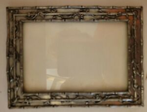 """Danforth Pewter Frame 3"""" x 4 1/2"""" Decorated Birds Flowers Vines Bamboo"""