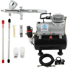 Dual-Action Airbrush 3 Tips with Mini Air Compressor 100-120V (US plug) OPHIR