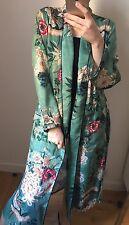 Long Green Floral Printed Kimono Belt Oriental Beach Cover Up Kaftan Ibiza