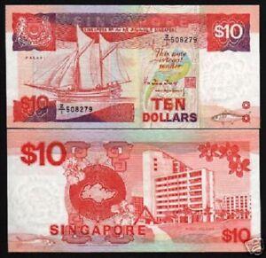 SINGAPORE 10 DOLLARS P20 1988 REPLACEMENT Z1 SHIP FISH UNC MONEY ANIMAL BANKNOTE