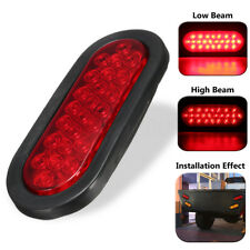 6'' 24 LED Red Oval RV Truck Trailer Stop Turn Brake Tail Light Rubber Mount