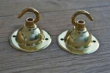 COPPIA di stile antico in ottone LUCE ROSA GANCIO SOFFITTO GANCIO chadelier STAFFA NR6