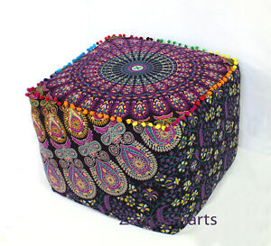 """18"""" Mandala Ottoman Pouf Cover Peacock Style Square Indian Footstool Seat Covers"""