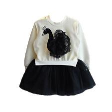 Cinda Chicas Cisne Blanco Y Negro Manga Larga Vestido Tutú rara de 3-4 años