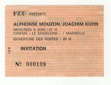 Alphonse Mouzon Joachim Kuhn ticket invitation concert Marseille KCP /B168