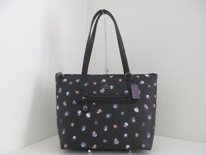NWT AUTH COACH 76383 TAYLOR VINTAGE ROSE PRINT COATED CANVAS TOTE-$195-BLACK