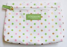 L'Occitane blanco, verde, rosa y dorado con Puntos Tela de cosméticos, Neceser NUEVO