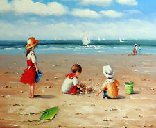 """BEACH SEASIDE seascape scene canvas print  12"""" x 16"""" stretched over frame"""