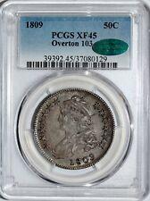 1809 Bust Half Dollar PCGS XF45 CAC Overton 103
