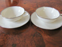 """Franciscan China Platinum Band-Encanto Ivory-2 Cups & 2 Saucers-Smaller 1 5/8"""""""