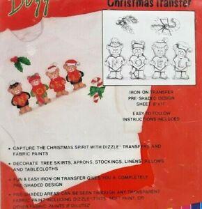 1980s NIP Dizzle Pre-Shaded Mini Christmas Transfer Noel Bears Fabric Paint 7359