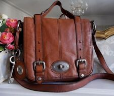 Fossil Maddox Tan Leather Flap Crossbody Satchel Shoulder Bag Key