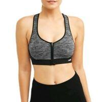 Avia Women's Medium Support Seamless Zip Front Sports Bra Black  Large NEW