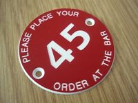 10 x PLACE YOUR ORDER AT BAR - 50mm Table number discs - Pubs Clubs Restaurant