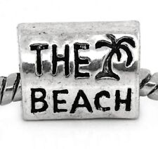 Antiqued Silver THE BEACH with Palm Tree 12mm Tube Large 5mm Hole Charm Bead 1pc