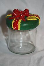 Merry Christmas Clear Glass Candy Gift Jar Canister Twist Lid Retro