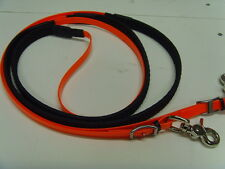 "Translucent Orange Rubber Grip Biothane reins Cob size 56"" long"