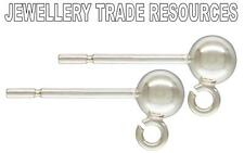 Sterling silver earring ear post 4 mm Perle & ring compte-gouttes ball crampons