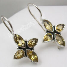925 Sterling Silver Facetted CITRINE ONLINE SHOPPING New Earrings 1 1/8 inches