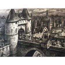 Lyon 17 e la porte du pont du Rhône pointe sèche J Drevet 1962 France