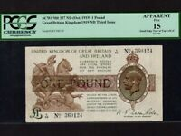 Great Britain:P-357a,1 Pound,1919 * King George V * PCGS F 15 APP *