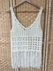 SOUL CAL & CO Size Small Cream Crochet Sleeveless Top Tassel Hem Vest S Festival