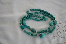 Nuggets Sterling Silver Bench Necklace Vtg Navajo Double Strand Large Turquoise