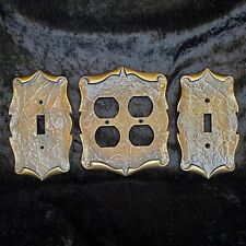 Vintage Two Tone Plate Covers Electrical Outlet & Two Single Light Switch Covers