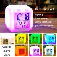 Cubo Orologio Sveglia Digitale Con Luce LED Multi Colore Termometro Data Clock