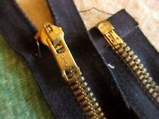 "True Vtg 13.5"" COATS CLARK CC HEAVY BRASS JACKET Military Zipper Black"