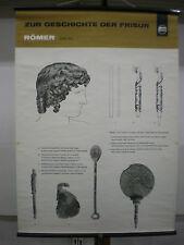 Schulwandbild Geschichte der Frisur Römer Rom Friseur Wella 70x96c vintage chart