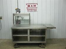 "57"" x 34"" Stainless Steel Heavy Duty Cabinet Work Prep Table w/ Sneeze Guard"
