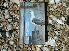 Seagull Beach Key Box with key hooks - Rustic Wall Hanging / Nautical /Nice Gift