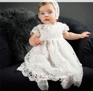 Baby Girl 2Pcs Cotton Lace Christening Baptism Gown Lace Dress  Bonnet Size 0-2Y