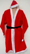 Santa Claus Xmas Fancy Dress Father Christmas Polyester Coat Hat & Belt Set