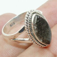 Solid 925 Sterling Silver Black Rutile Gemstone Ring Handmade Jewelry - Any Size
