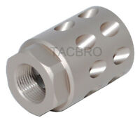 Tan Anodized Aluminum 1/2x28 Thread Pitch Muzzle Brake for Glock 9MM