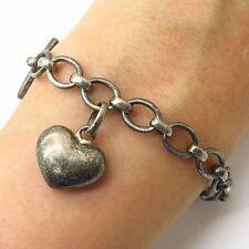 "Links of London 925 Sterling Silver Dangling Heart Charm Toggle Bracelet 7 1/4"""