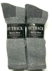6 Pair Men's Out Door Merino Wool Work / Hiking Gray Boot Sock SZ 9-11,USA.