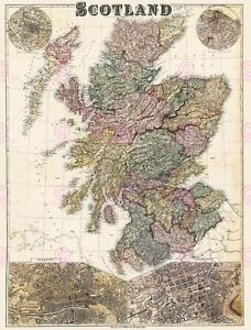 Map Antique Bacon Scotland Glasgow Edinburgh Large Replica Canvas Art Print