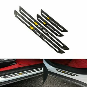4Pcs Carbon Fiber Car Door Welcome Plate Sill Scuff Cover For 2000-20 Chevrolet