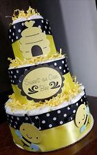 3 Tier Diaper Cake - Sweet as can Bee Bumble Bee Theme Diaper Cake Yellow Black